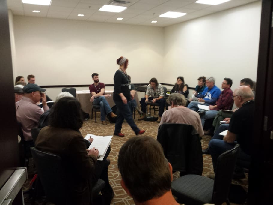 Me teaching at the Louis Meyers Folk Music Camp at Folk Alliance International in 2016.
