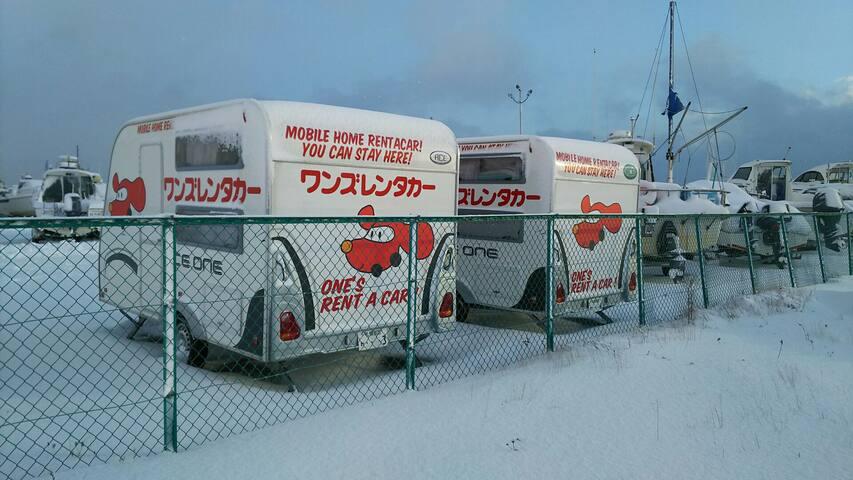 苫小牧勇払マリーナにある、お得なモバイルホームレンタカー、格安の決定版 - 苫小牧市勇払376番地 - Wohnwagen/Wohnmobil