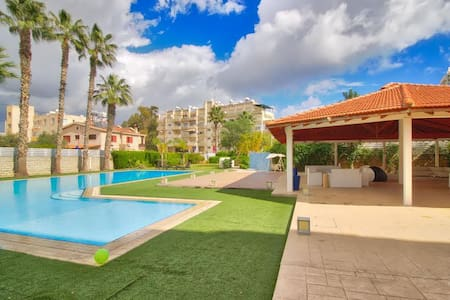 1b Studio with pool, tennis court - Dasoudi beach - Germasogeia