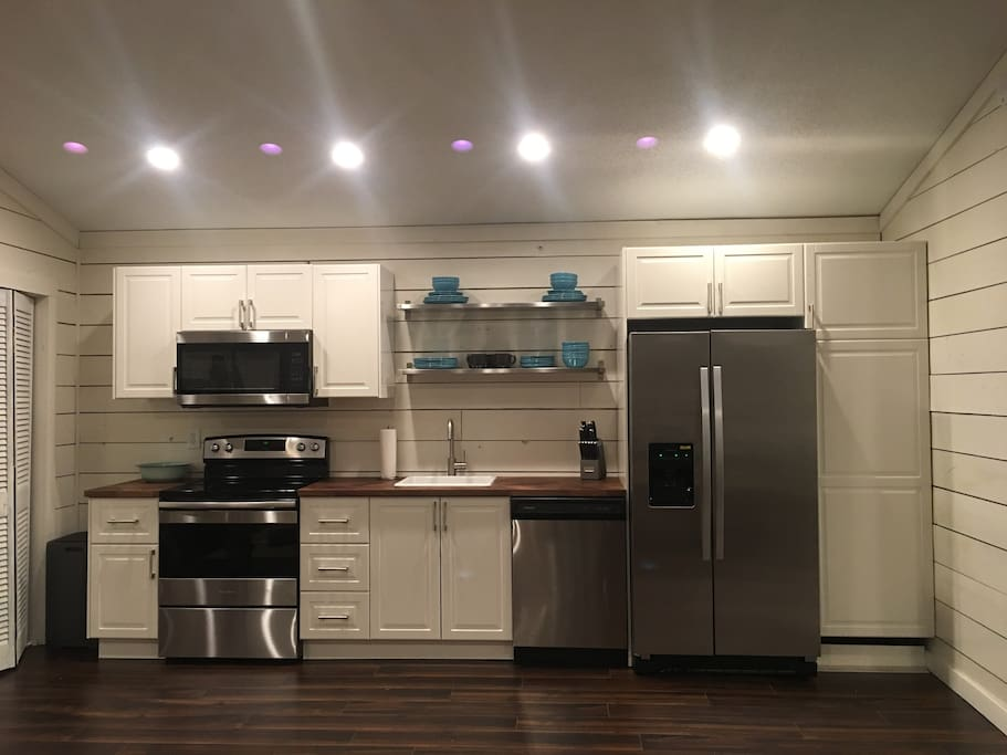 Newly remodeled kitchen with stainless steel appliances.