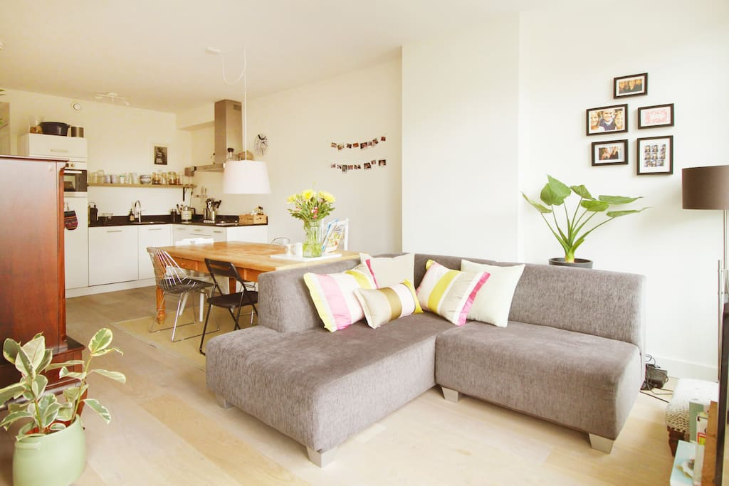 Lovely bright livingroom with great view from third floor over square and street
