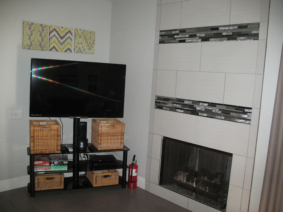 Gas fireplace and Smart TV