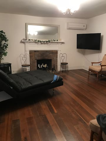 Brand new 55 inch TV with Serta sofa couch in Living Room.