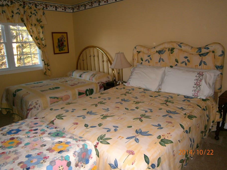 The Garden Room has a queen and a double bed. $100 per night