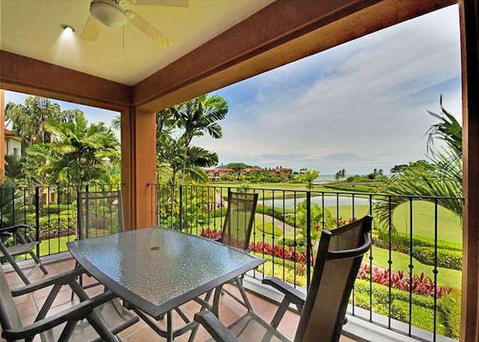 2nd floor, 3 bed, 2 bath, large covered terrace, golf course & ocean views!