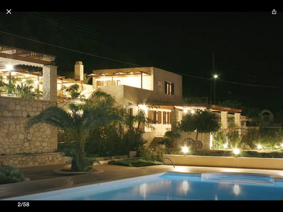 Night View of the Villa and the pool