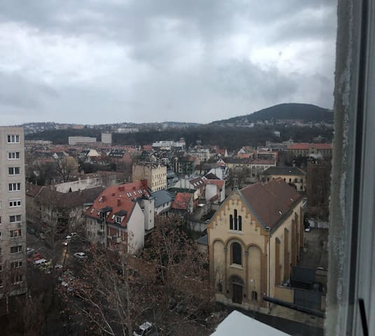 You can see the Buda hills from the window