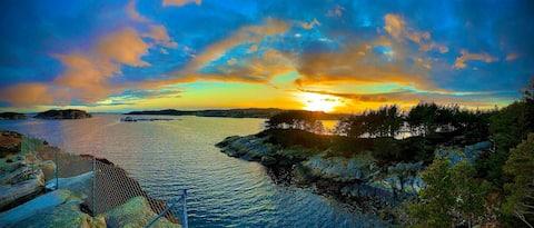 Sjø, strand, havutsikt, fiske, kajakk, Norgesferie