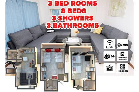 RED#8  3 apartments ONE price 3 Baths & 3 kitchen! - 大阪 - 公寓