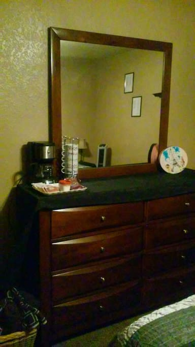 Dresser with in room coffee pot!