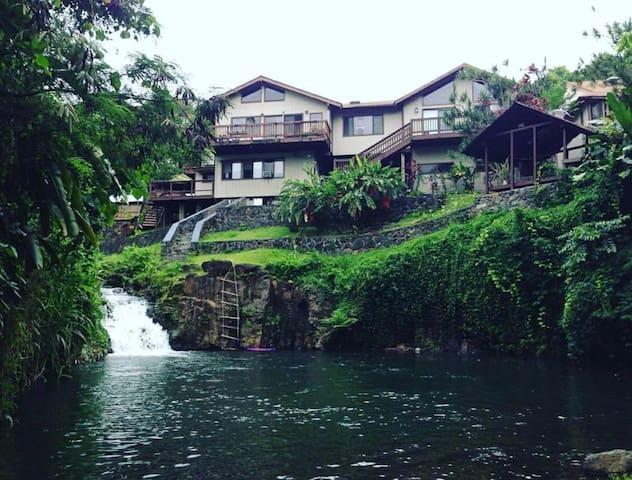 Serene retreat on private waterfall