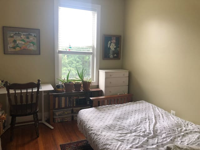 Bright bedroom in Eckington rowhouse