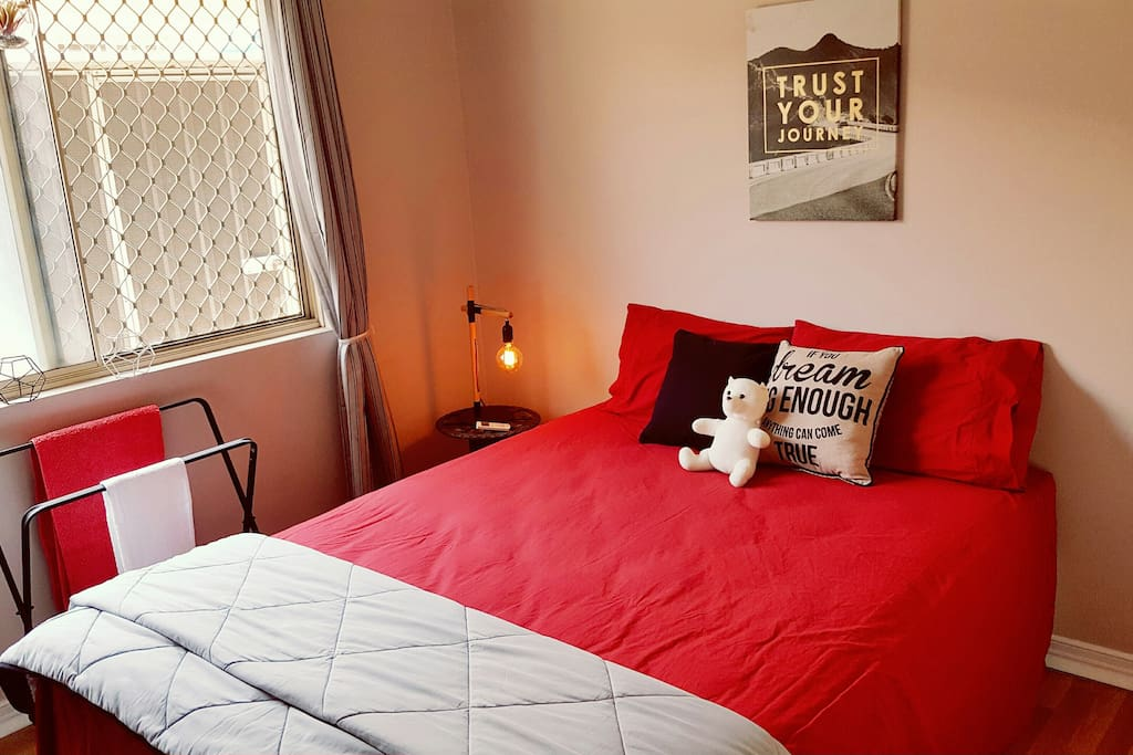 "NOTE: If you are a group of 4, I have another bedroom available also. This one has a queen bed. So have a look to see if this is available as it may  suit your group perfectly.  ""Comfy Private Room in funky home - Close to all"""