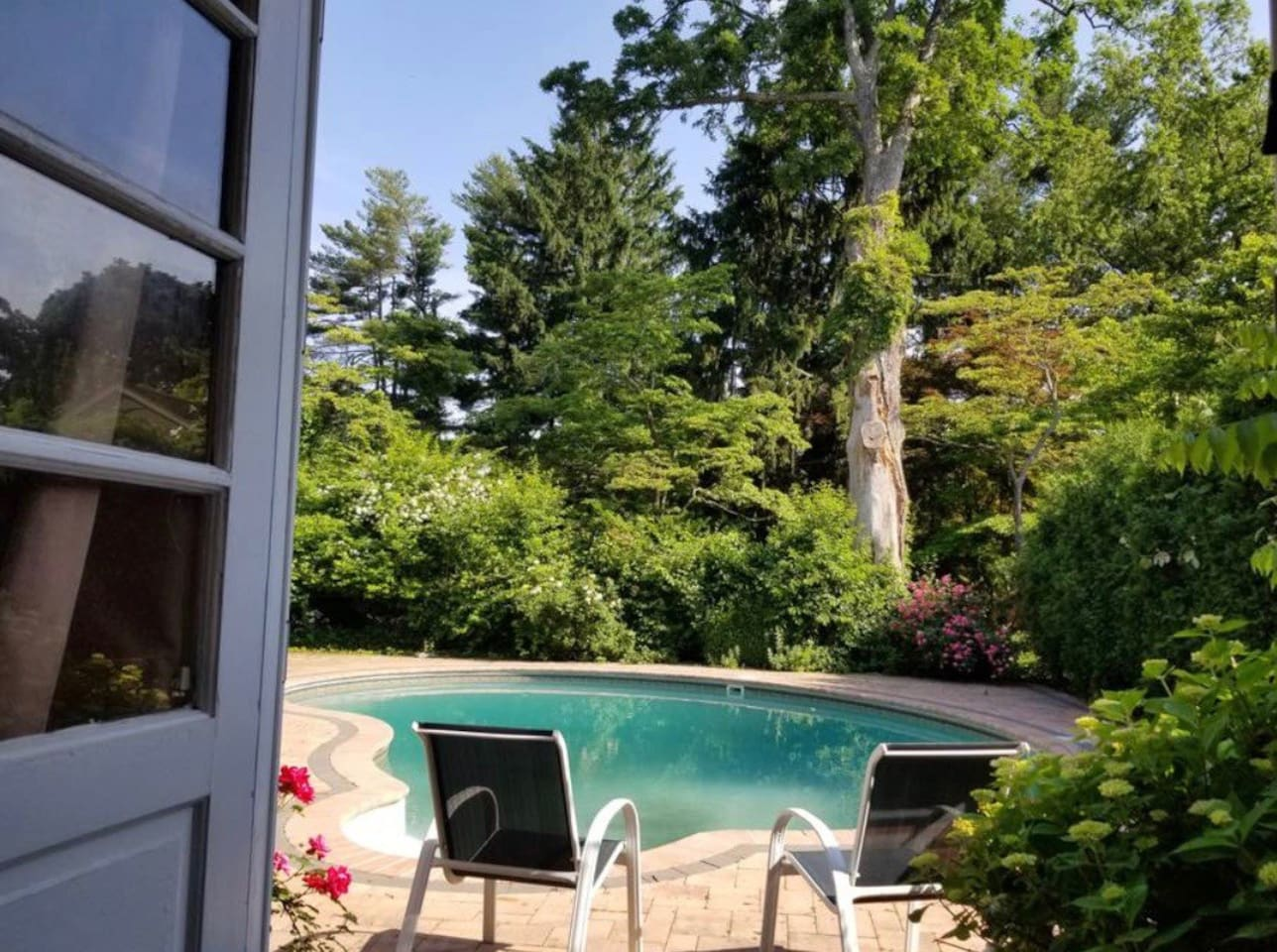 Private double door entrance in the backyard that walks out to patio/pool!  Absolutely lovely!!