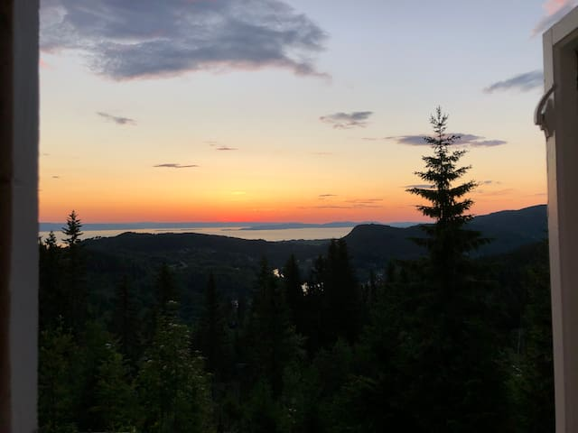 View from loft bedroom, right before sunrise midsummer