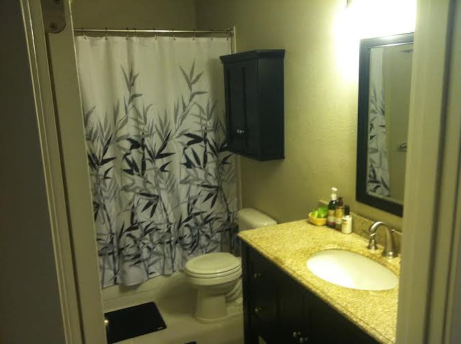 Our newly finished bathroom next to the yellow room