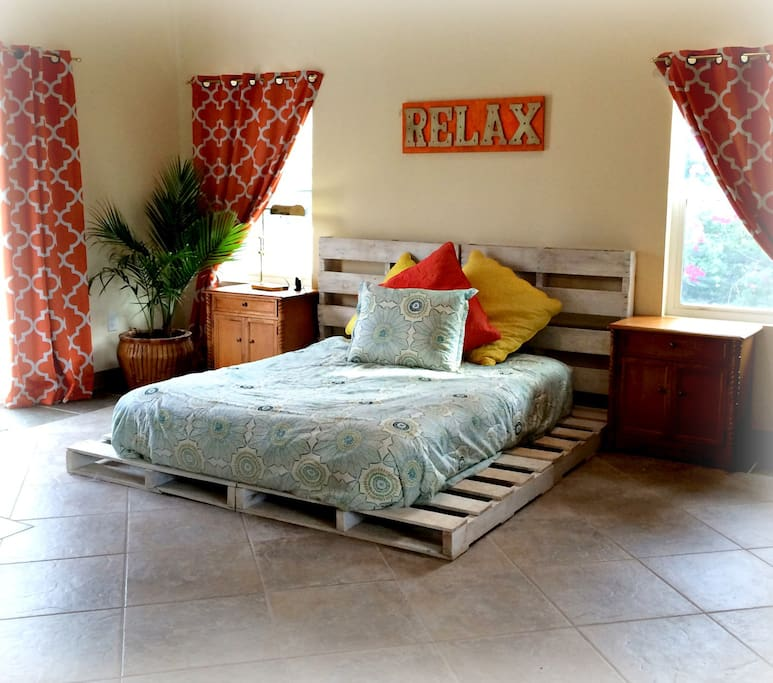 Sleep in a fun and modern queen sized bed!
