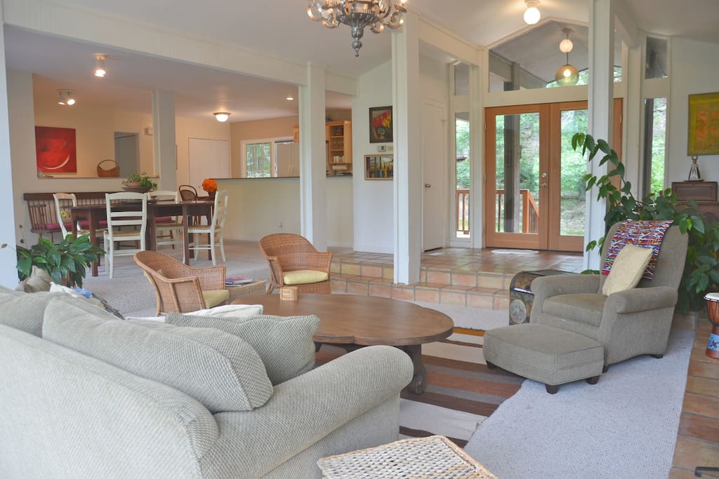 Great room - Combined living room, dining room and open kitchen.