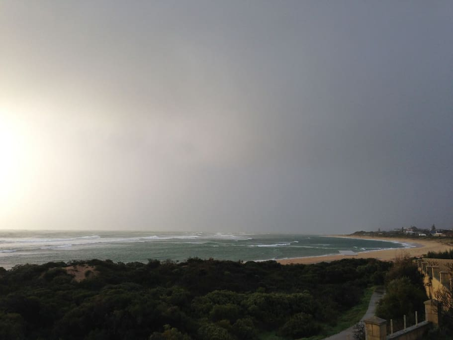Stormy day at the beach from balcony