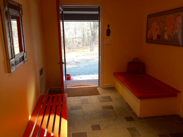 Warm colored entry way,