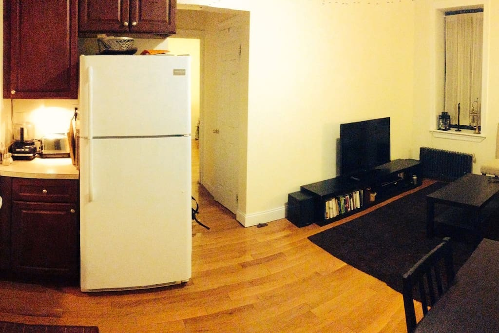 Living space with a fully equipped Kitchen.