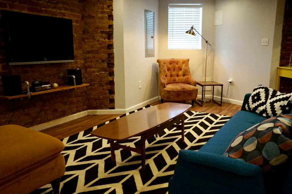 Sofa unfolds to a full sized bed; for parties of four that prefer to not share the bed, we can provide an air mattress.