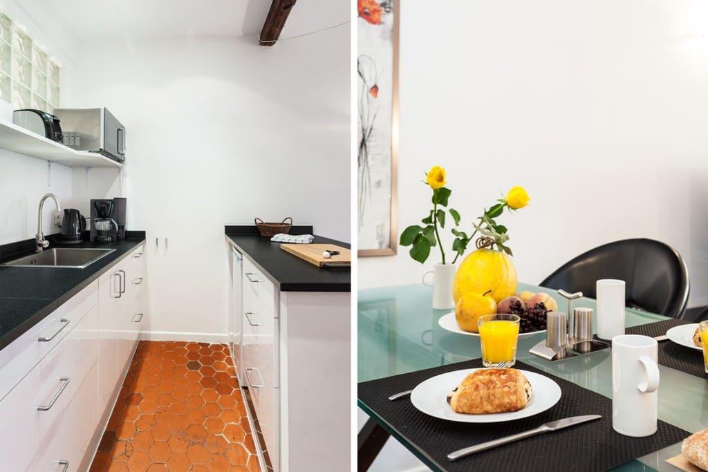 Küche mit allem was mach zum Kochen braucht