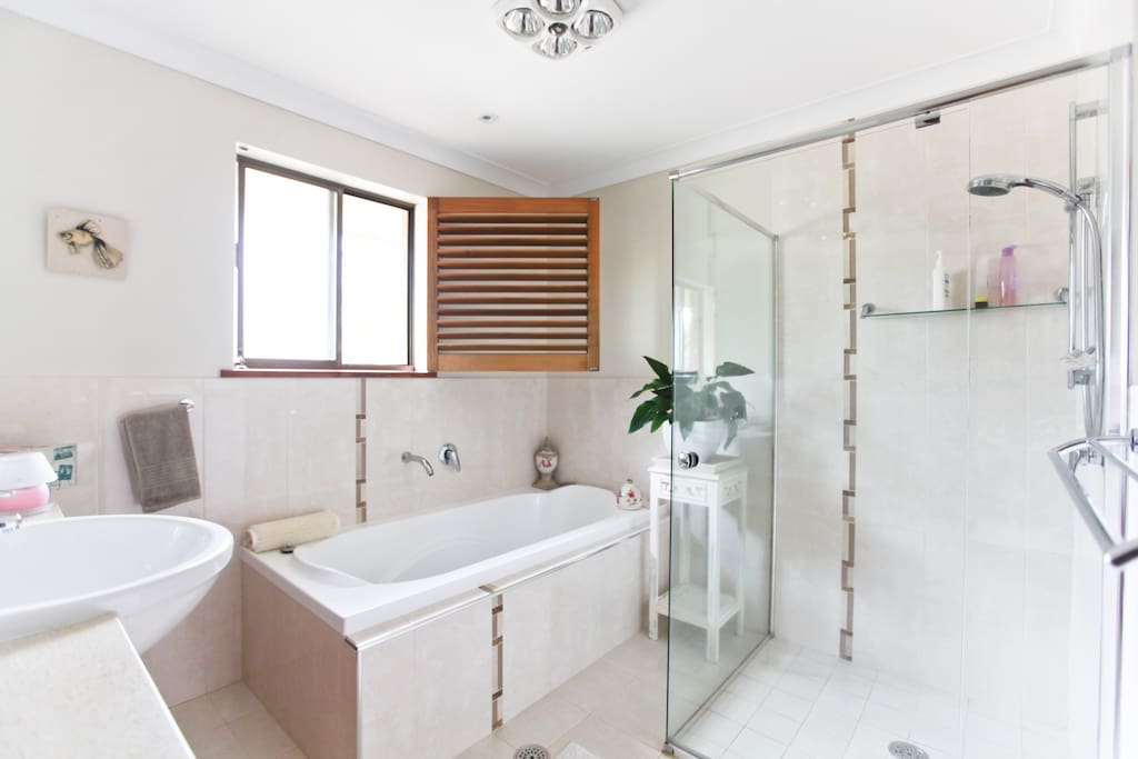 Main seperate bathroom with large bath and massage shower head.