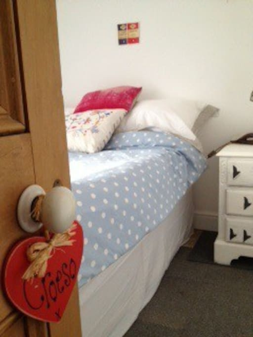 Comfortable double bed in attic room