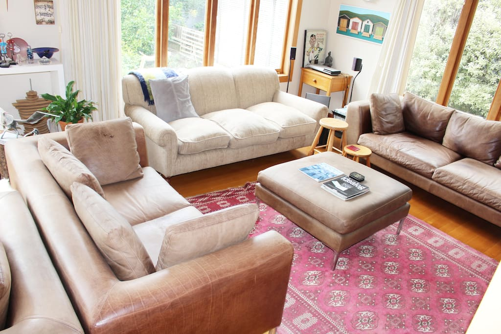 Leather coffee table and comfortable sofas