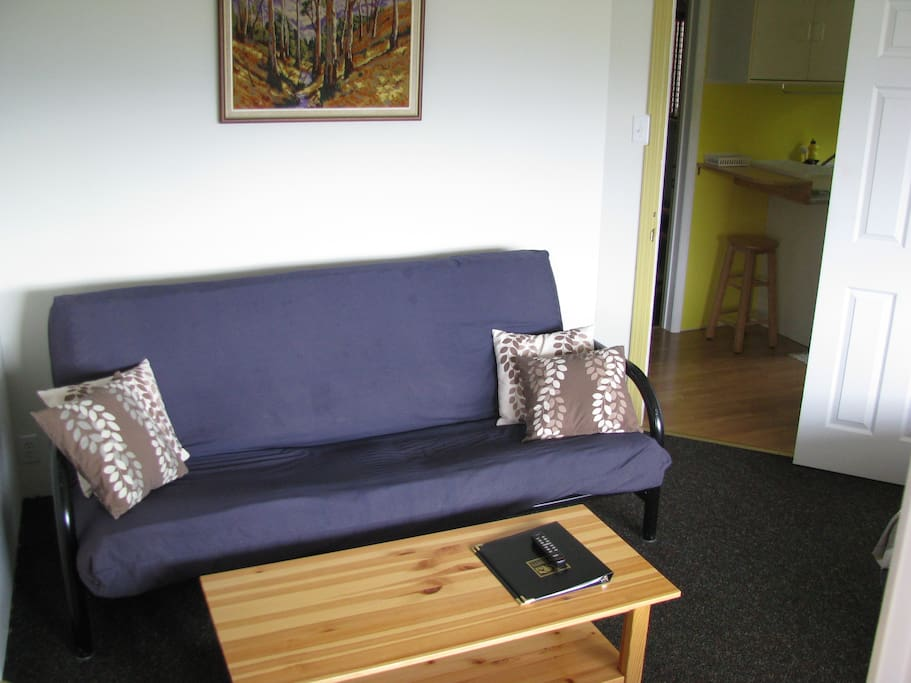 Futon sofa to accommodate extra person. Bedding provided