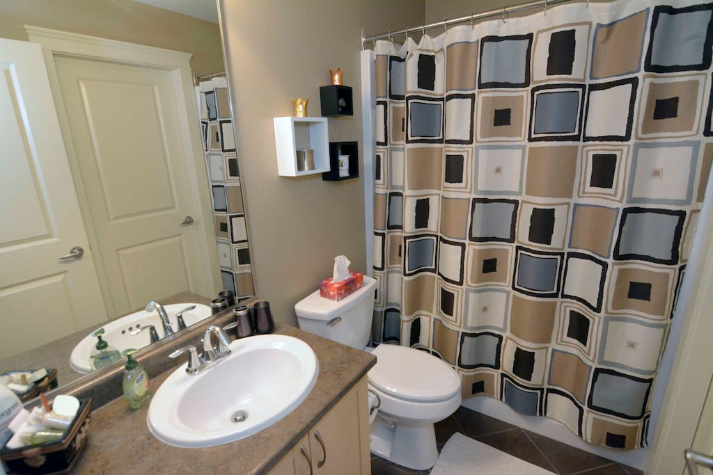 Private full bathroom connected to guest room.