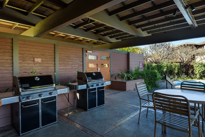 Both pools feature grills, bathrooms, showers and seating areas