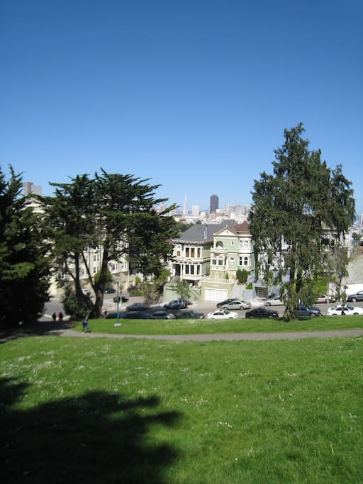 View of our home and the San Francisco city skyline from Alamo Square