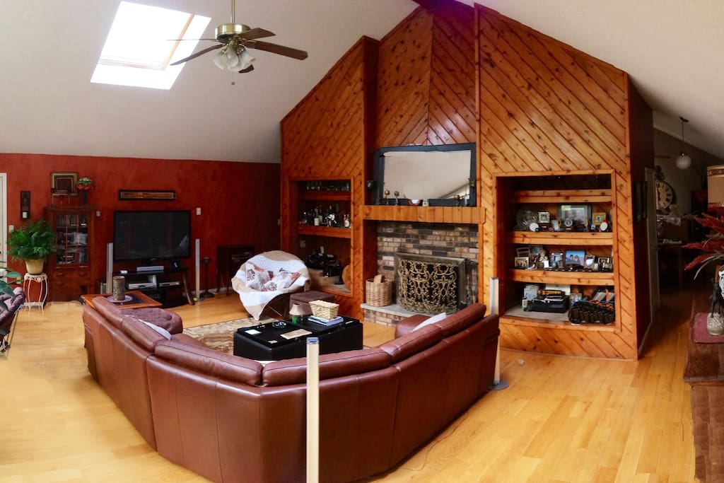 Spacious, living area with slylights, fireplace, large plasma tv.
