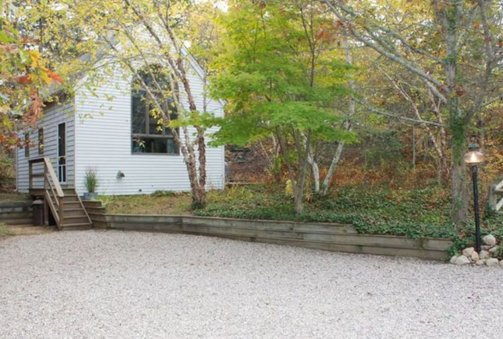 A sweet little cottage on a  large wooded property.