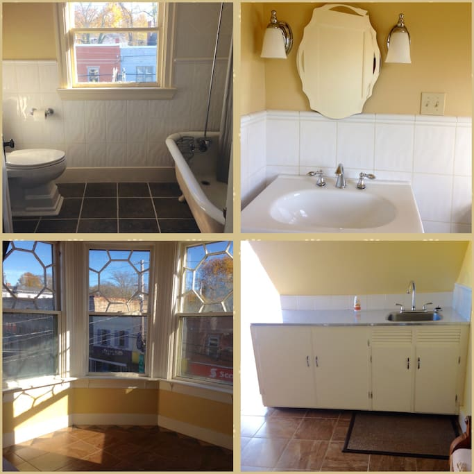 updated bath with clawfoot tub and shower