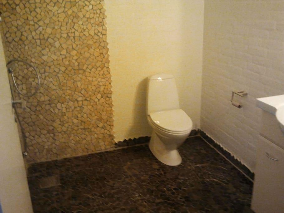 badeværelse med brus og toilet