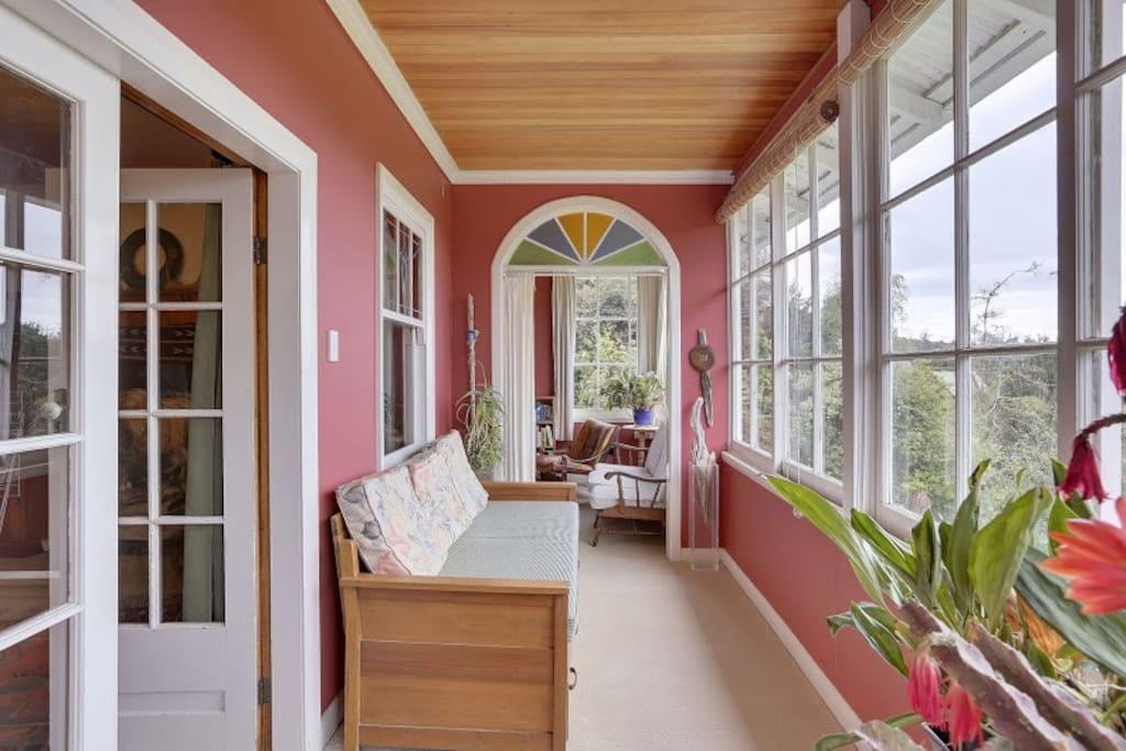 Sunny enclosed balcony