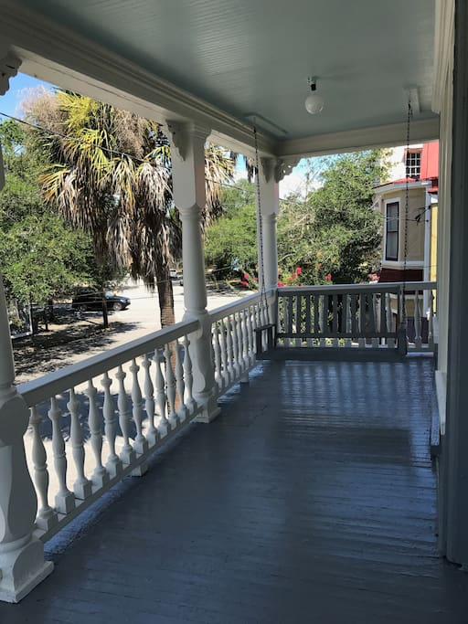 your private upstairs porch with swing