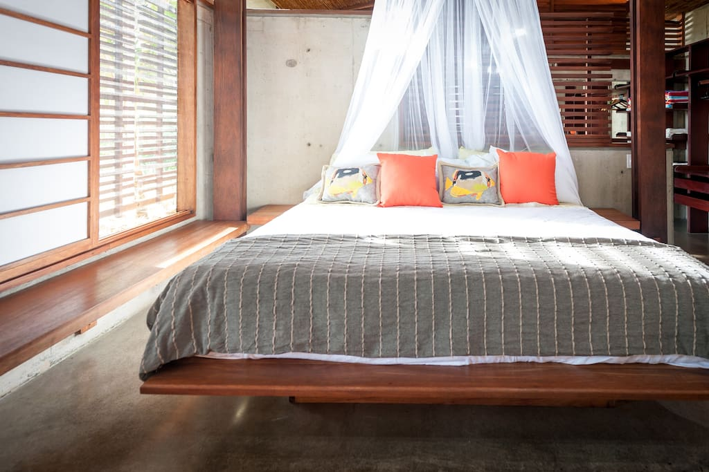 Cool comfortable room with bright tropical colours