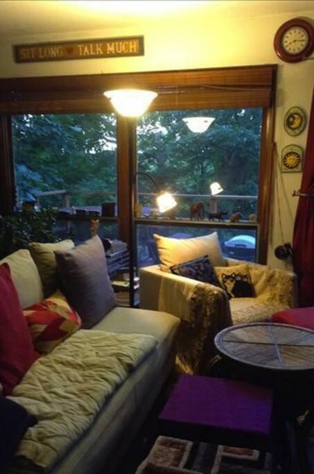 Living room area off deck