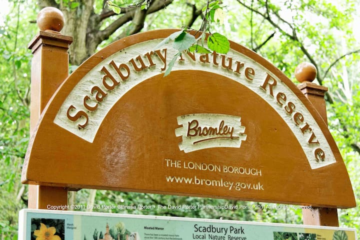 Scadbury nature reserve has 300 acres of ancient woodland is within walking distance
