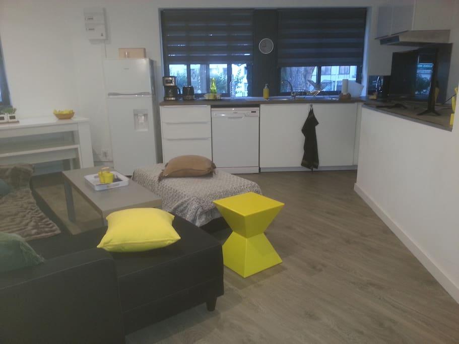 salon avec canapé 2 couchages (draps fournis)
