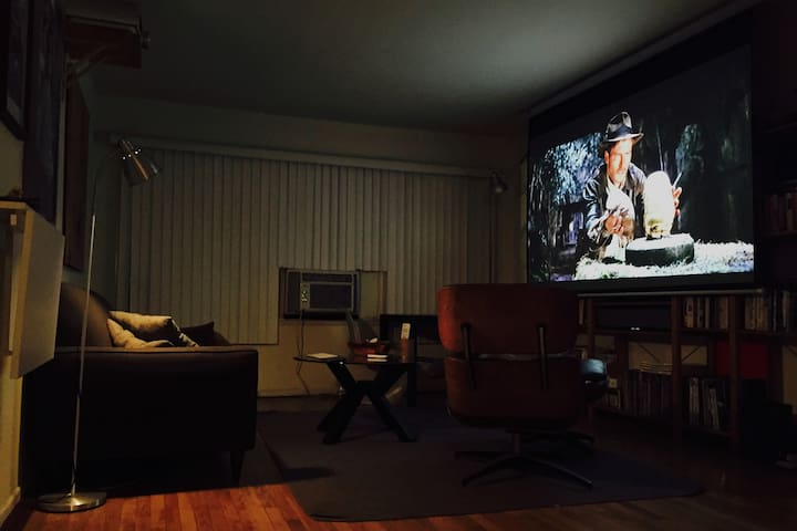 """Movie time! 100"""" screen with 1080p HD projector"""