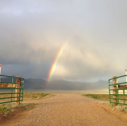 Entrance gates to property - looking east to the Sangre de Cristo range
