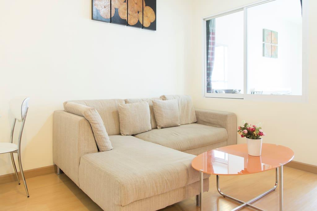 Living room with L-shape sofa