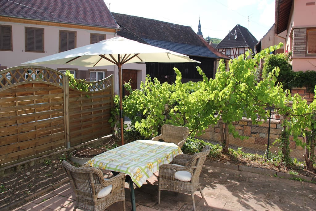 Enjoy a glass of Riesling in the small courtyard