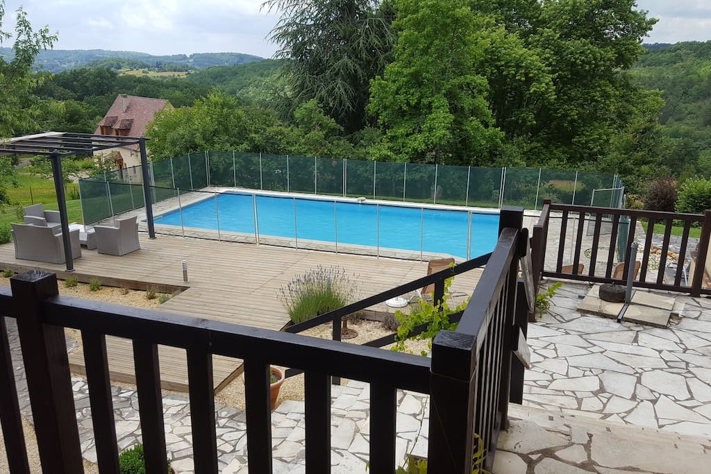 View from terrace over pool to the Dordogne valley