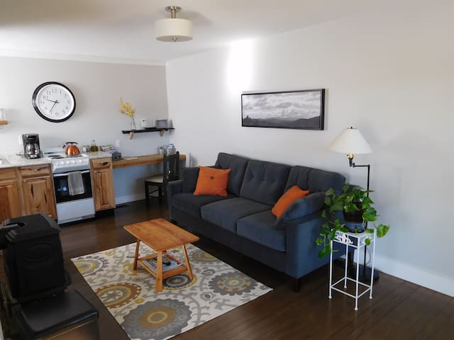 First floor features a propane fireplace, Smart TV, kitchen, and cozy sitting area.